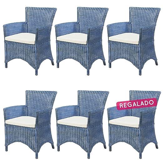 Rotin Design REBAJAS : -41% Lote 6 sillones de ratan salon o ...