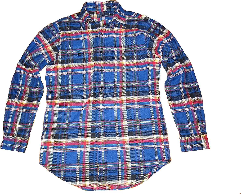 Polo Ralph Lauren Men/'s Blue//White Button Front Plaid Flannel Performance Shirt