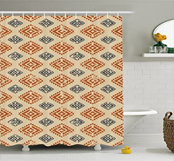 Zambia Shower Curtain By Ambesonne Ethnic Tribal Folk Design With Retro Style Aztec Effects In