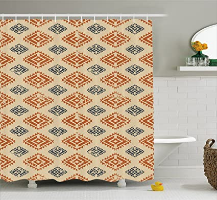 Ambesonne Zambia Shower Curtain Ethnic Tribal Folk Design With Retro Style Aztec Effects In Pastel