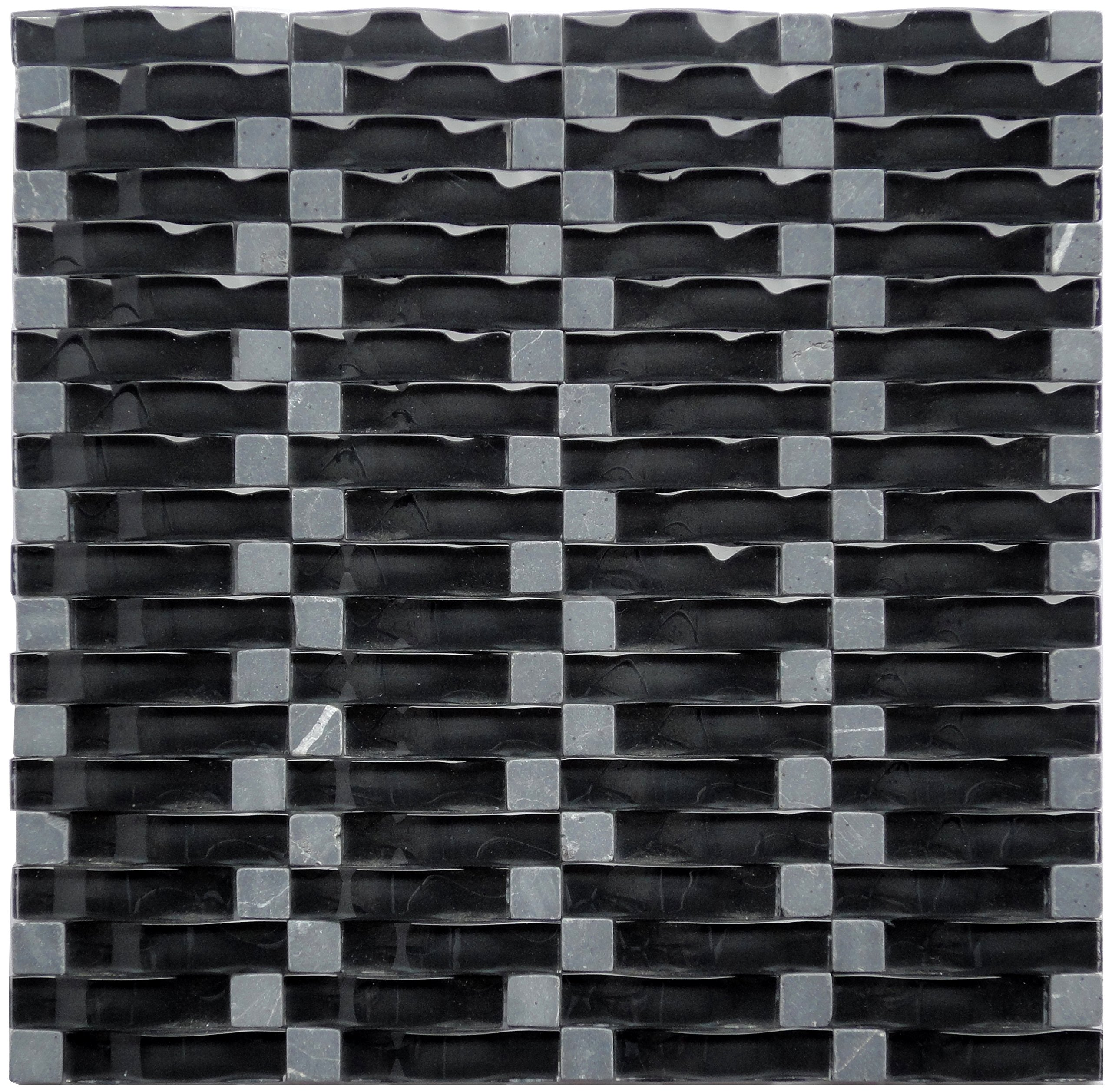 Black Obsidian Ripple Series 3D Wave Backsplash Glass Stone Mosaic Tile for Kitchen Bathroom (1 Box / 8 Sheets)