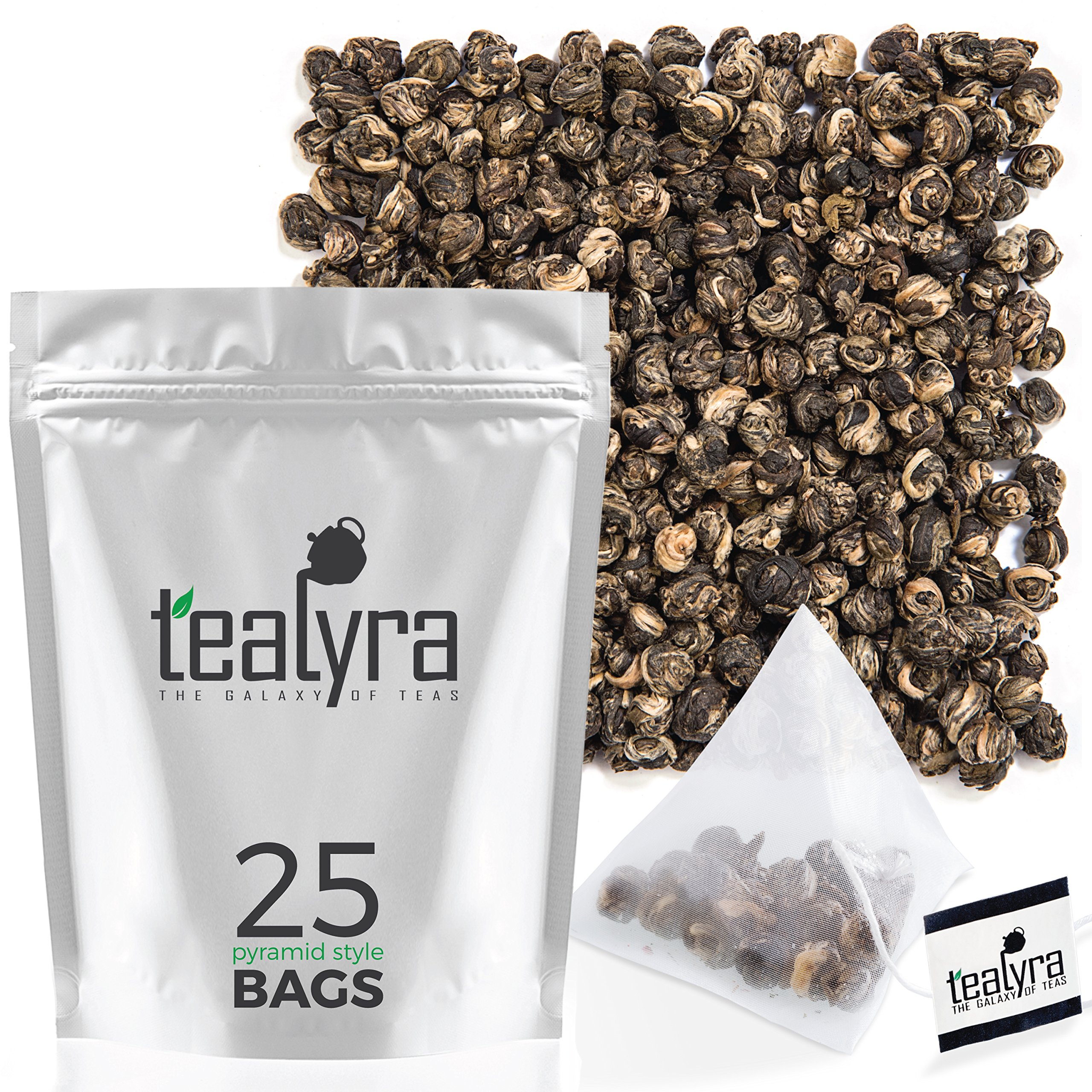 Tealyra - Imperial Jasmine Dragon Pearls Tea Pyramids Bags - Green Tea Loose Leaf - Organically Grown - 25 Sachets (Net. 2oz)
