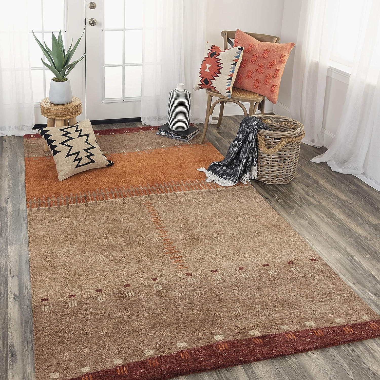 Amazon Com Rizzy Home Mojave Collection Wool Area Rug 5 X 8 Maroon Tan Orange Beige Furniture Decor