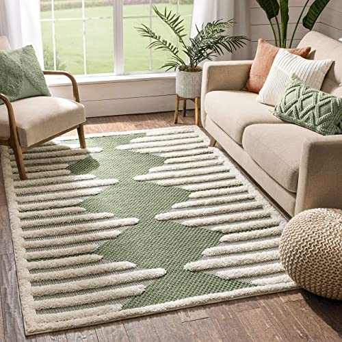 Well Woven Kady Green Flat-Weave Hi-Low Pile Diamond Medallion Moroccan Tribal Area Rug 8×10 7'10″ x 9'10″