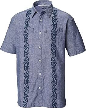 Columbia PFG Harborside Iinen Camp Camisa para Hombre, Hombre, Camisetas abotonadas, 1709121, Carbono Guayabera, Large: Amazon.es: Deportes y aire libre