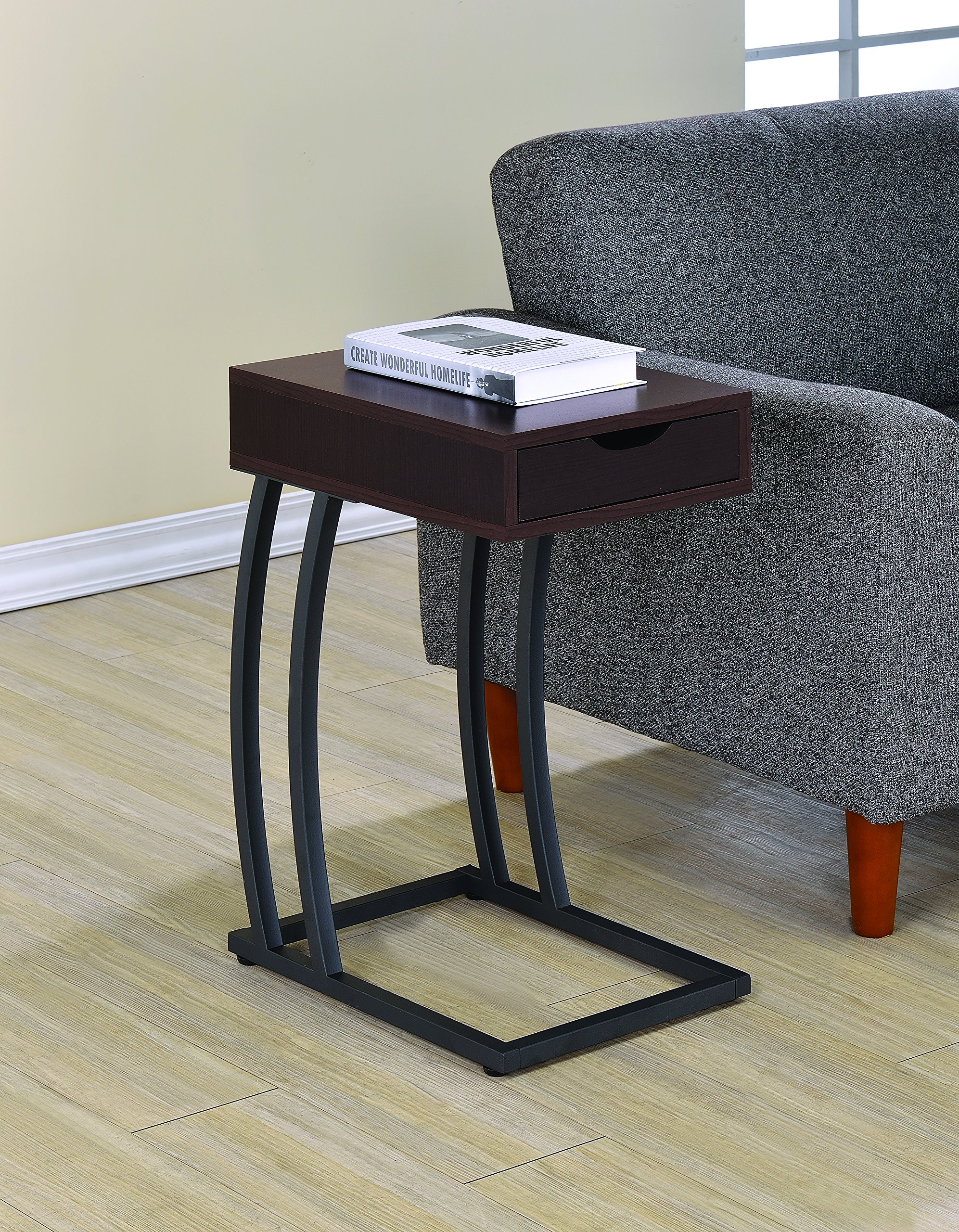 Coaster Industrial Accent Table with Storage Drawer and Outlet, Cappuccino by Coaster Home Furnishings
