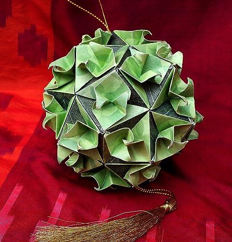 Amazon hand folded paper origami flower ball christmas ornament hand folded paper origami flower ball christmas ornament car charm light green w dark mightylinksfo