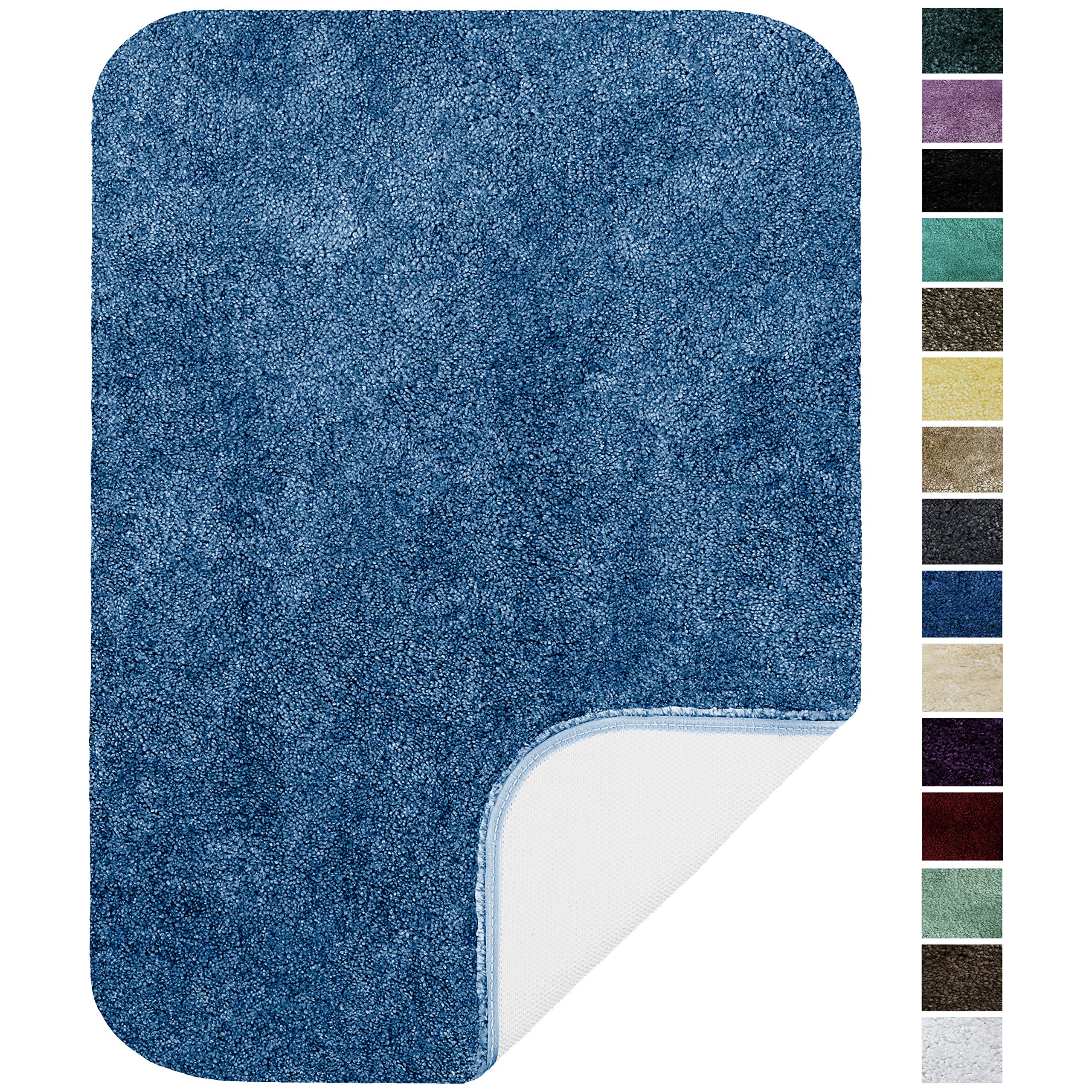Maples Rugs Bathroom Rugs-Colorsoft 20'' x 34'' Non Slip Washable Bath Mat [Made in USA} Soft & Quick Dry for Vanity and Shower, Federal Blue by Maples Rugs