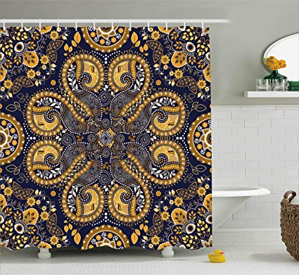 Amazon.com: Ambesonne Indian Shower Curtain by, Ethnic Pattern ...