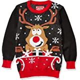 Hybrid Apparel Suéter de Navidad Feo Chamarra sin botón para Niños