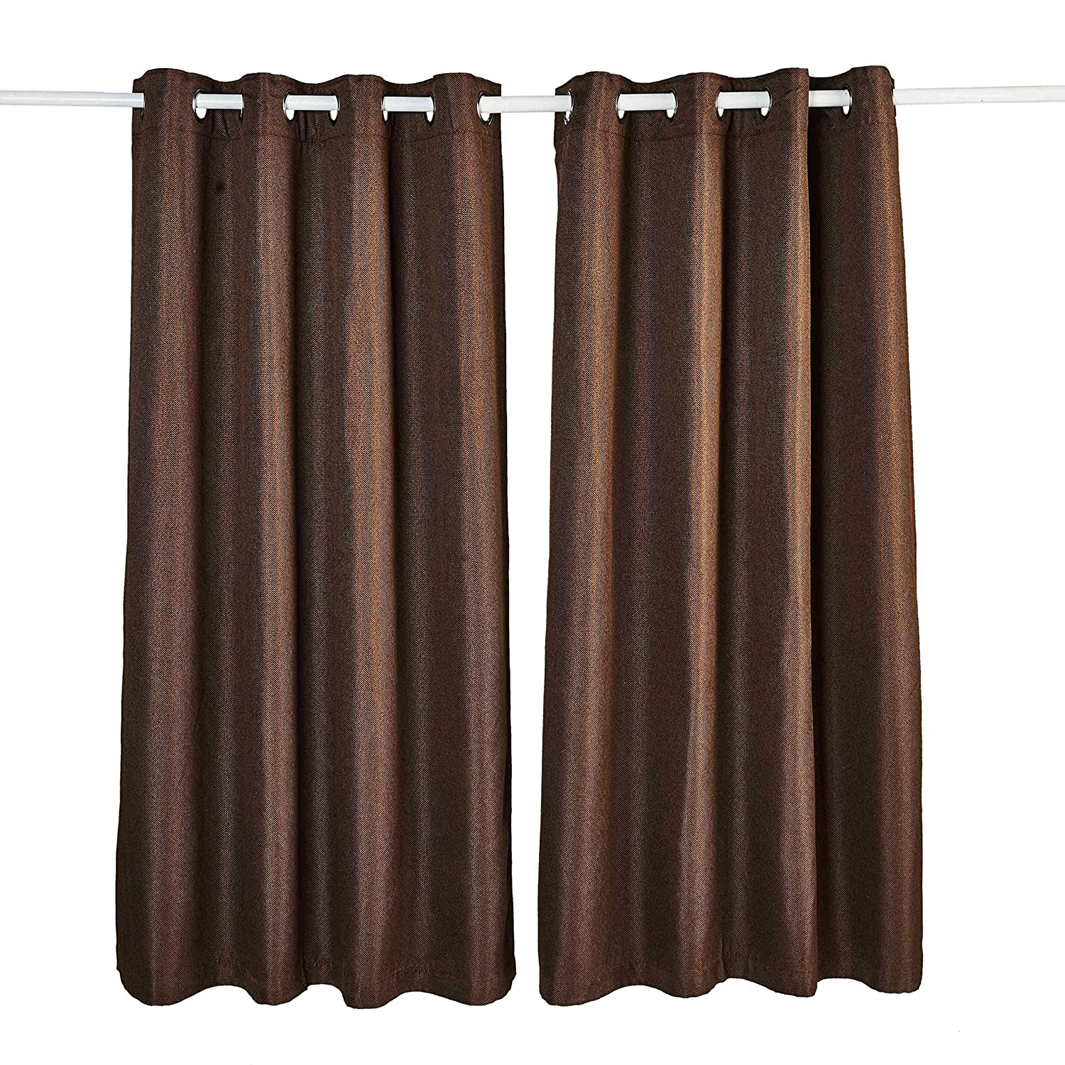 Ammybeddings Window Curtains Super Soft Thermal Insulated Blackout Eyelet Dark Coffee Window Treatment Curtains for Bedroom/Living Room 2pcs (52 x 64)