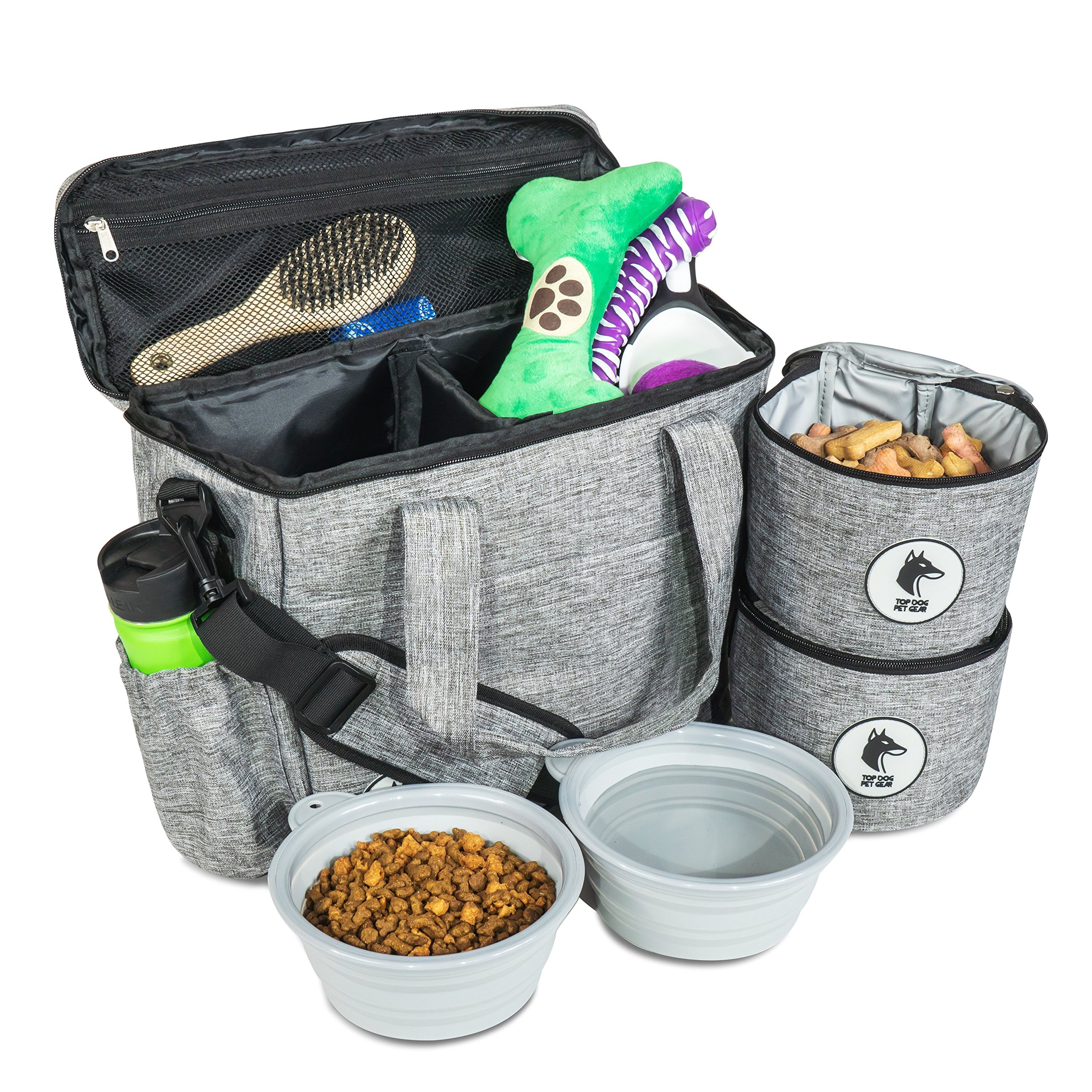 Top Dog Travel Bag - Airline Approved Travel Set for Dogs of All Sizes - Stores All Your Dog Accessories - Includes Travel Bag, 2x Food Storage Containers and 2x Collapsible Dog Bowls - Gray by Top Dog Pet Gear