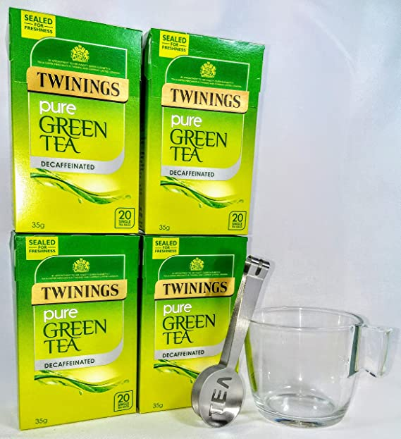Twinings té verde descafeinado puro 4 cajas, 80 bolsitas de té con exprimidor de bolsa de té y taza de vidrio: Amazon.es: Alimentación y bebidas