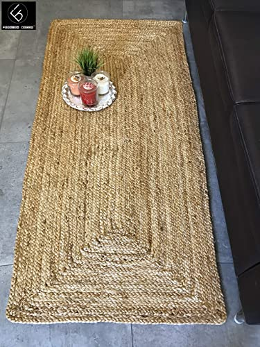 Fernish D cor Handwoven Jute Area Rug, Natural Yarn, Rustic Vintage Braided Reversible Rug, Eco Friendly 2.5 x6