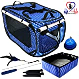 """Pet Fit For Life EXTRA LARGE Collapsible/Portable Cat Cage/Condo with Portable Litter Box and Bonus Cat Feather Toy and Collapsible Water/Food Bowl Large - 32"""" x 19"""" x 19"""""""