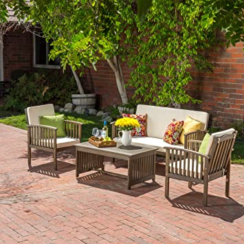 Elegant Beckley Patio Furniture 4 Piece Acacia Wood Outdoor Chat Set (Grey Finish)