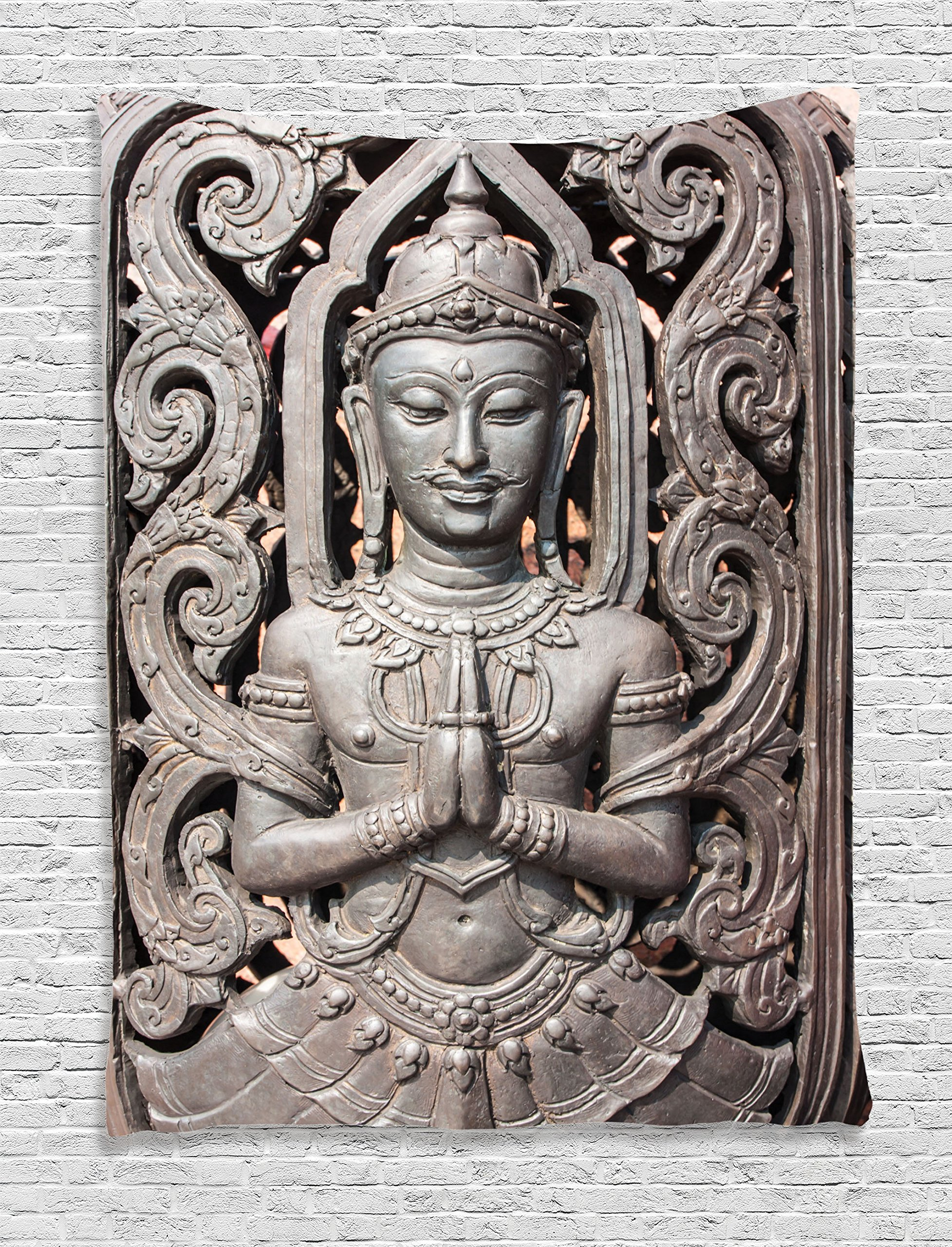 Ambesonne Buddha Decor Collection, Antique Buddha in Traditional Thai Art with Swirling Floral Patterns Carving Japanese Decor, Bedroom Living Room Dorm Wall Hanging Tapestry, Bronze