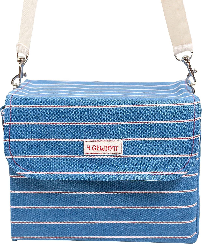 22,5 x 20,5 cm aus Fairtrade Herstellung Sch/önfelder-Tasche Tragetasche Handtasche Damen Aufbewahrung mit Trageriemen 100/% Baumwolle blau wei/ß rot Ringelsuse