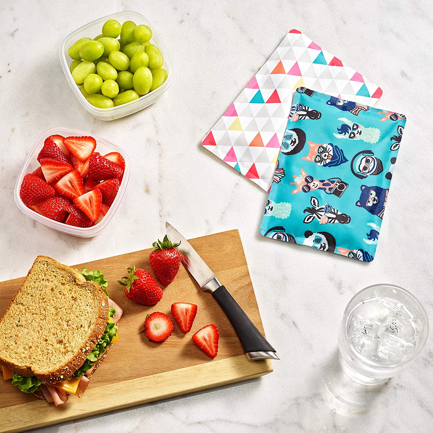 Fit /& Fresh Soft Cool Coolers Ice Packs for Kids Lunch Bags and Coolers Set of 2 Flexible Ice Packs for Lunch Boxes Multi Color