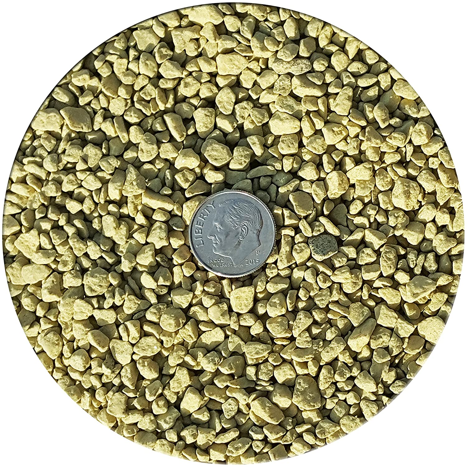 Mustard yellow green Taygum Decorative Gravel, Eco-Friendly, 2.2lb Bag 0.07 0.2  Thickness, for Landscaping, Gardening, Home-Deco, Vase Filler, Play Grounds, Aquariums (Mustard Yellow Green)