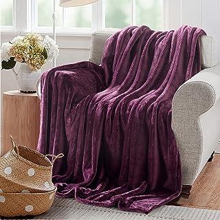 Reafort Ultra Soft Flannel Fleece Royal Plush Velvet Lightweight Living Room/Bedroom Warm Blanket … (Purple, Twin 167cm x 228cm)