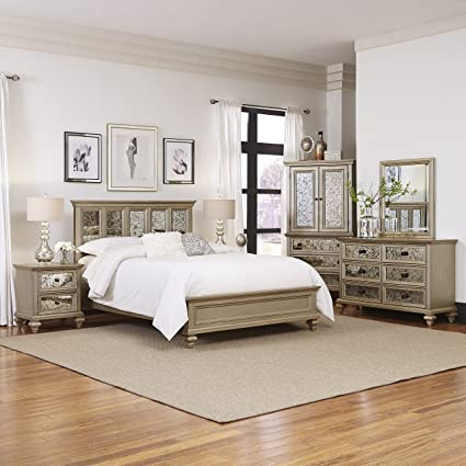 Amazon.com: Visions Champagne Finish 5Piece King Bedroom Set ...