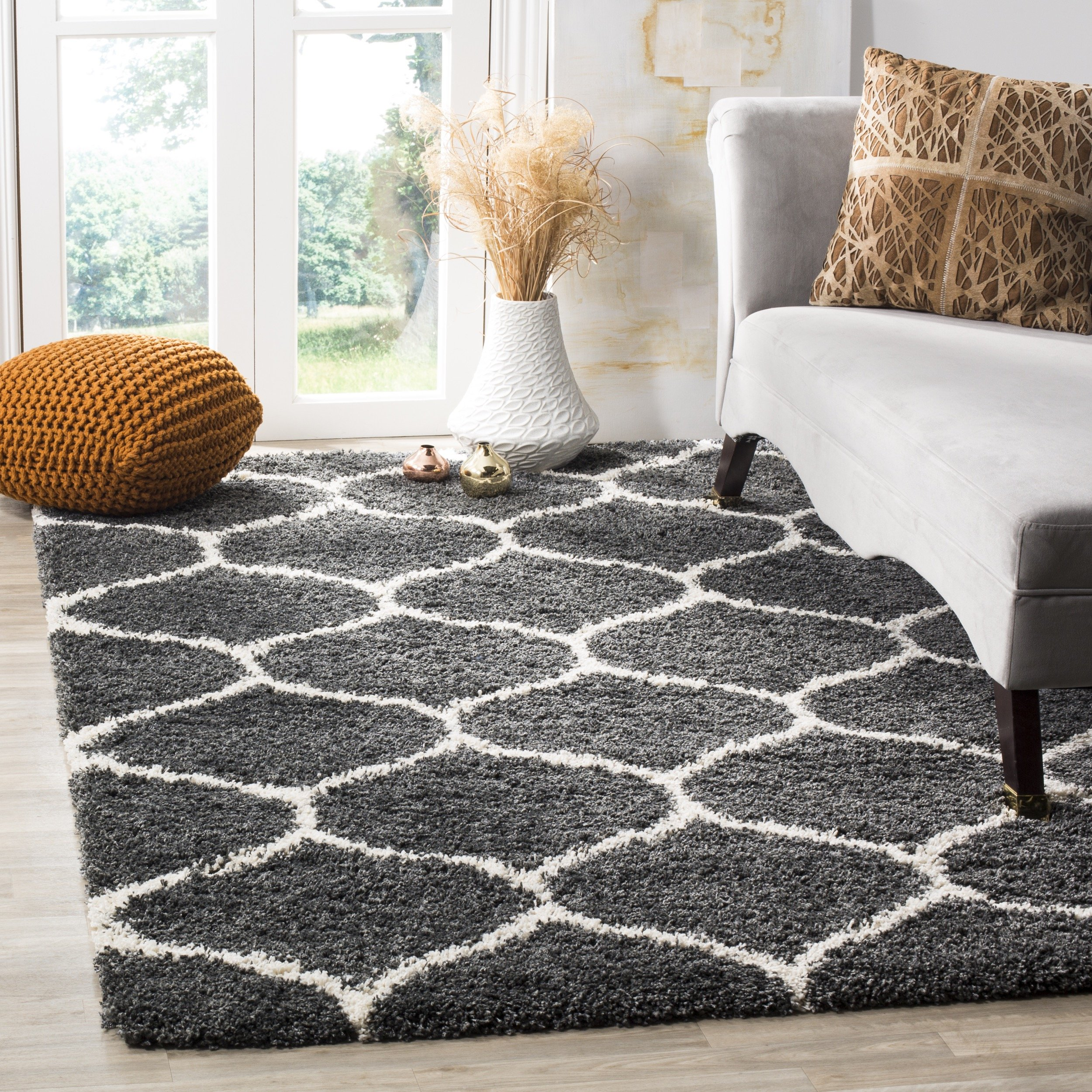 Safavieh Hudson Shag Collection SGH280G Dark Grey and Ivory Moroccan Ogee Plush Square Area Rug (7' Square) by Safavieh