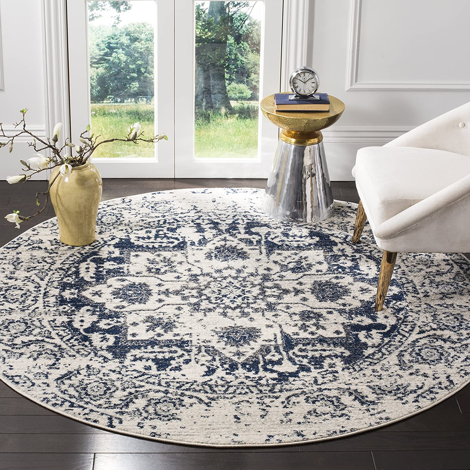 Safavieh Madison Collection MAD603D Cream and Navy Distressed Medallion Runner 23 x 20 MAD603D-220