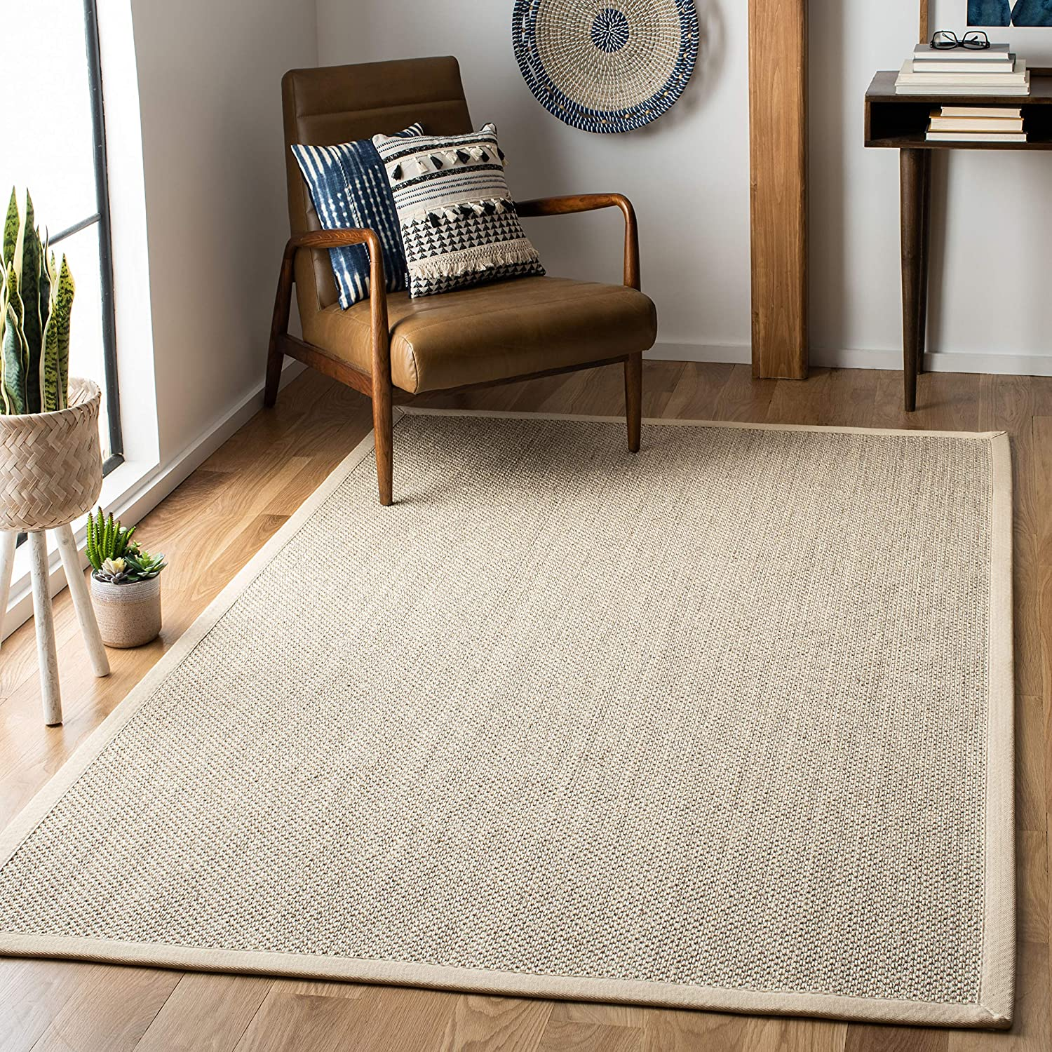 Safavieh Natural Fiber Collection NF143C Marble and Beige Sisal Area Rug (6' x 9')