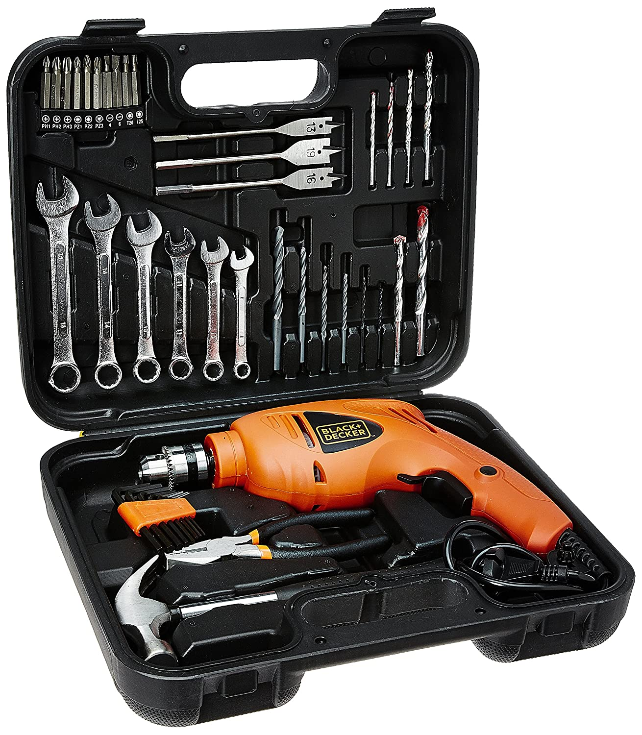 BLACK + DECKER HD455KA 10mm 550 Watt Impact Drill Kit (Orange, 41-Pieces)