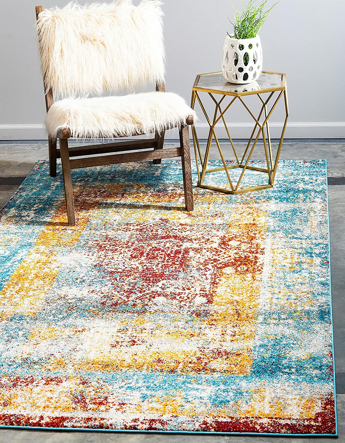 Unique Loom Rosso Collection Vintage Traditional Distressed Multi Area Rug (9' 0 x 12' 0)