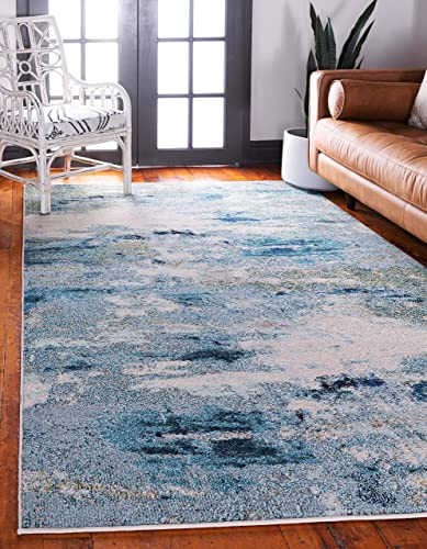 Unique Loom Chromatic Collection Abstract Modern Light Blue Area Rug 10 6 x 16 5