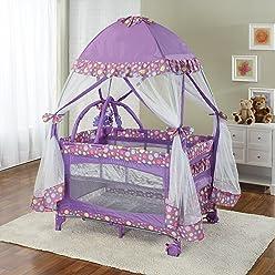 Big Oshi Portable Playard Deluxe Bundle - Nursery Center With Canopy Net  Topper - Medium Size 2418399da
