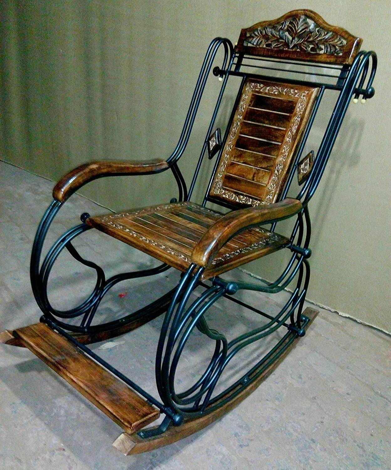 Chilifry Wooden U0026 Iron Rocking Chair (Multi Color): Amazon.in: Electronics