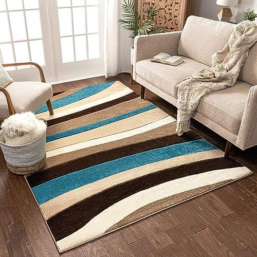 Temptation Waves Stripes Blue - a good cheap living room rug