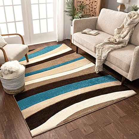 Temptation Waves Stripes Blue Beige Brown Modern 5x7 5 3 X 7 3 Geometric Comfy Casual Hand Carved Area Rug Easy To Clean Stain Fade Resistant Abstract Contemporary Thick