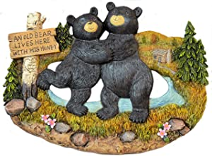 """Black Bear Decorations for Home - Bear Kitchen Decor Home decor Family Signs - bear wall hanging decorative welcome signs - bears outdoor wall decor (An Old Bear Lives Here with His Honey, 9""""x11.5"""")"""