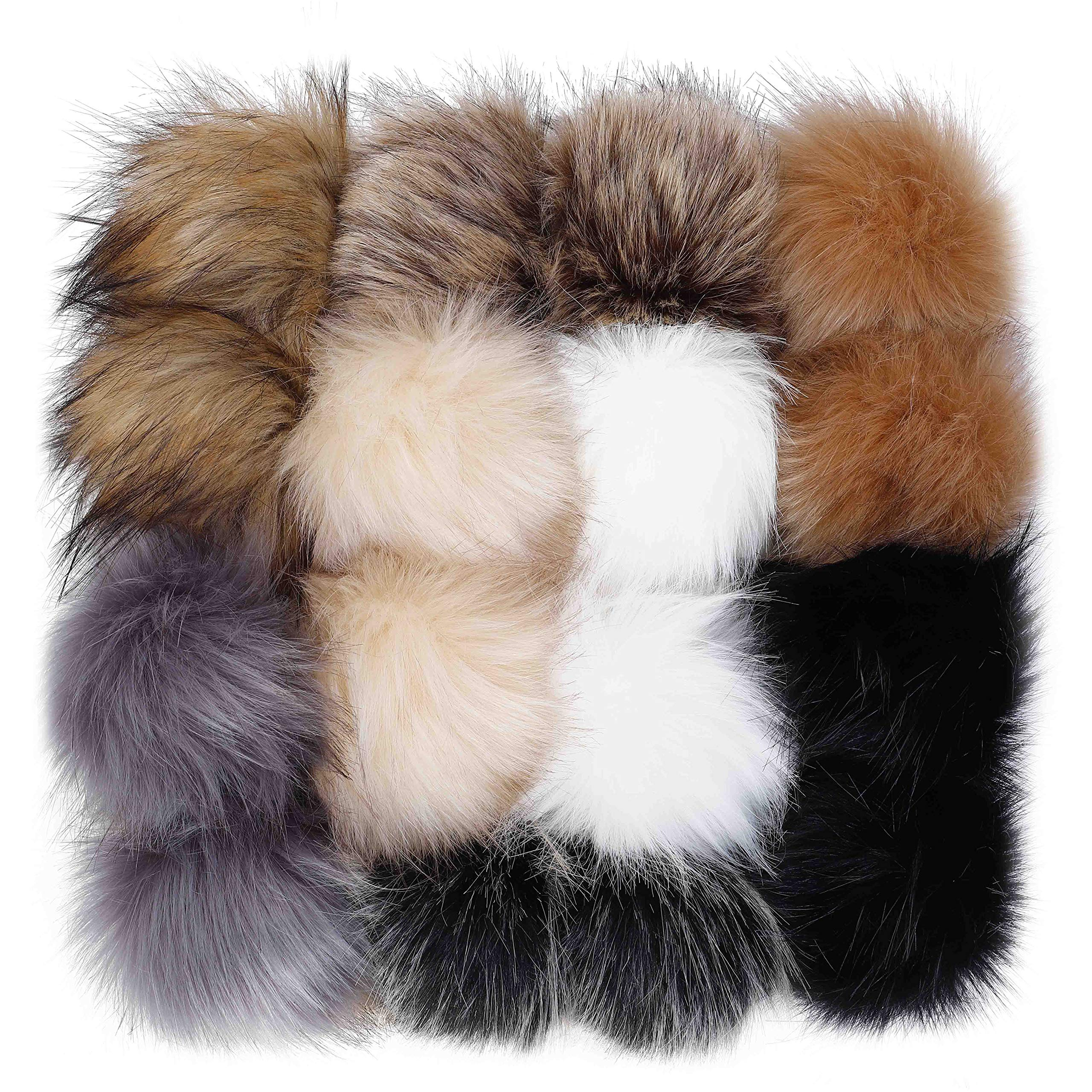 Fluffy Pom Pom DIY Faux Fox Fur Balls Soft 16PCS with Elastic Loop for Knitting Hat Scarves Bag Accessories