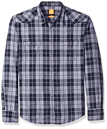 529722d3b BOSS Orange Men's Erodeo Long Sleeve Check Shirt, Black, Large ...