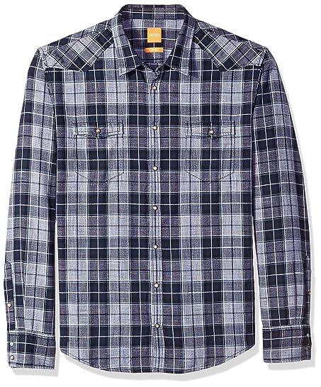 BOSS Orange Mens Erodeo Long Sleeve Check Shirt, Black, Medium