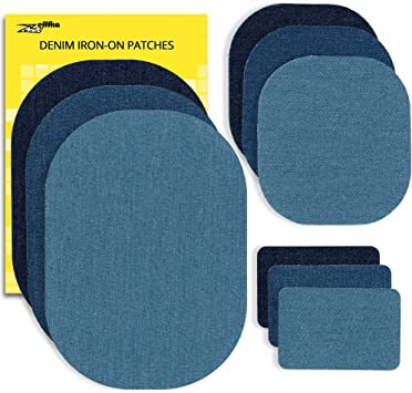 ZEFFFKA Premium Quality Denim Iron on Jean Patches No Sew Shades of Blue Black 10 Pieces Assorted Cotton Jeans Repair Kit 9.8 cm by 10.8 cm