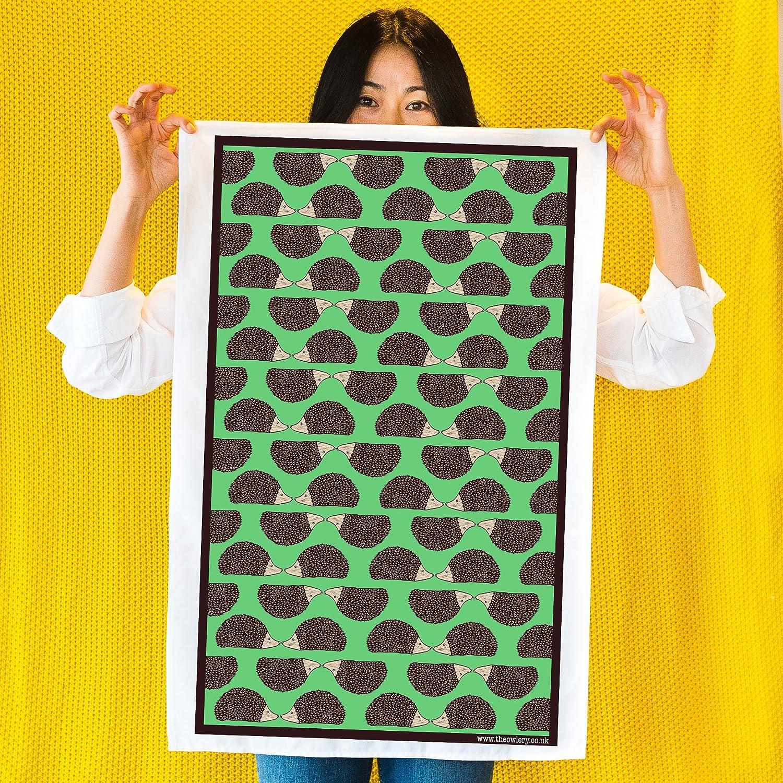 Hedgehog Screen Printed Tea Towel