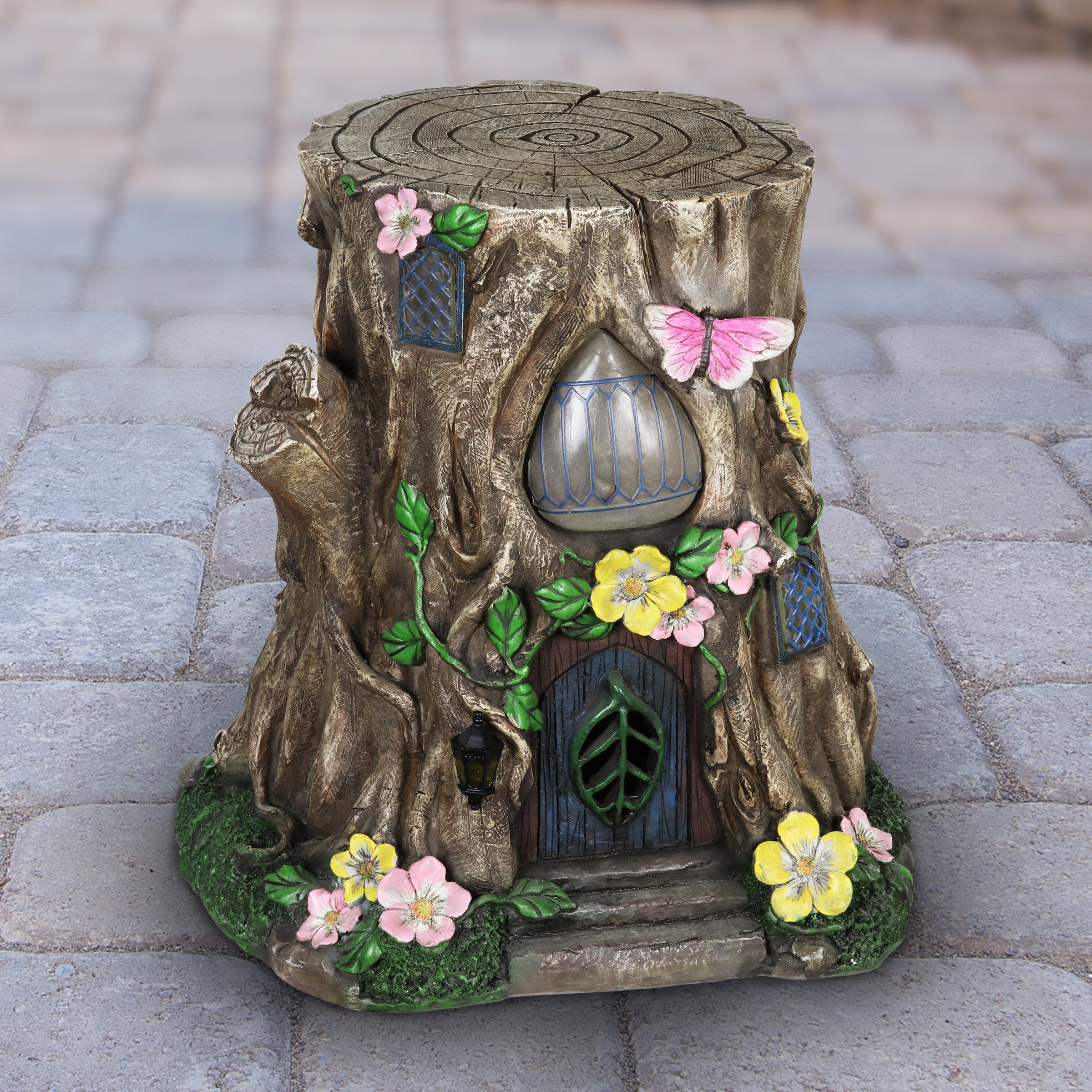 Exhart Gardening Gifts –Fairy House Tree Stump Statue - Large Garden Statues w/Solar Garden Lights, Outdoor Use, Fairy Themed Garden Décor, Weather Resistant Resin Statues by Exhart (Image #3)