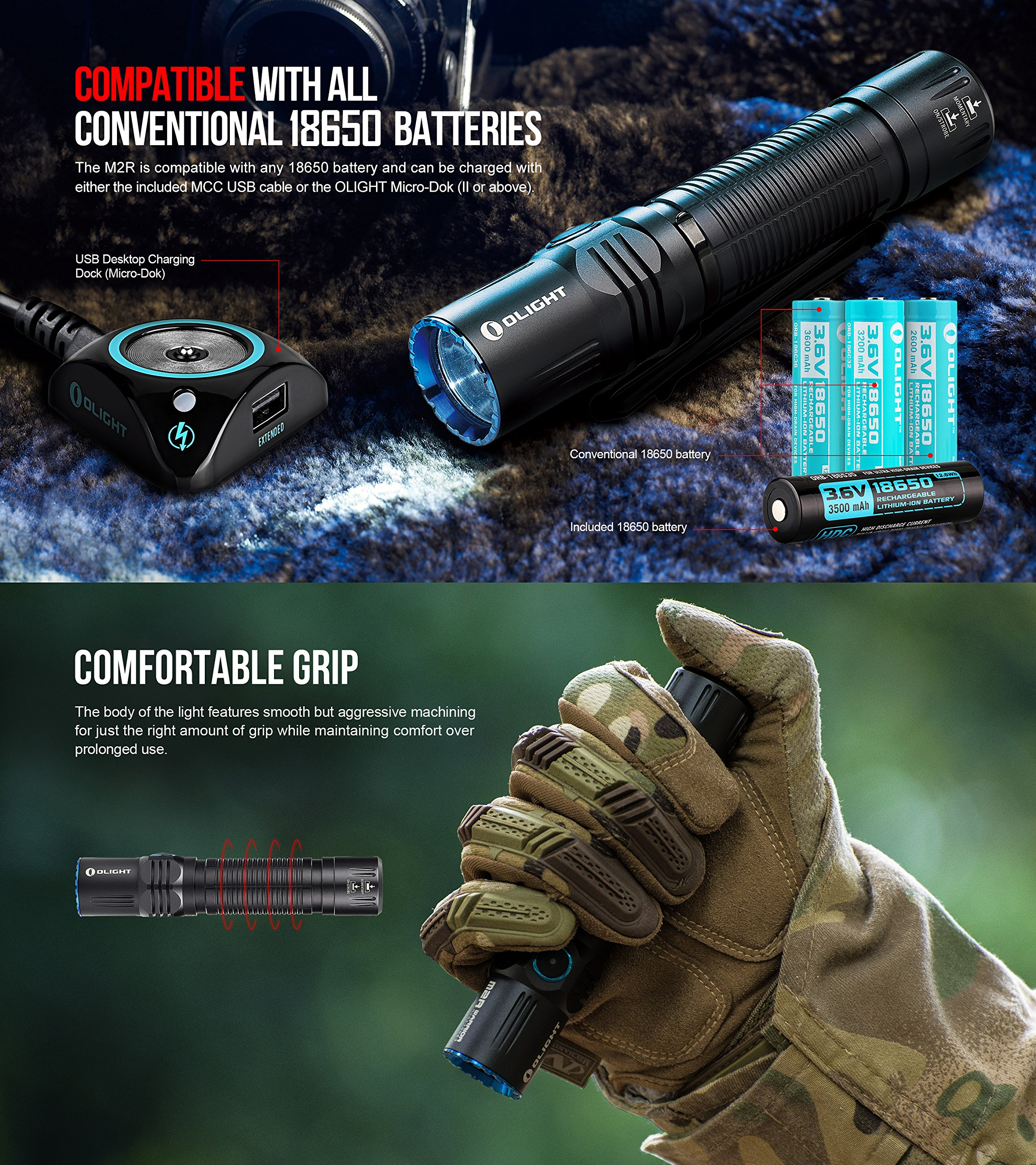 SKYBEN Olight M2R 1500 Lumen Cree XHP35 HD LED USB Magnetic Rechargeable Dual switches Tactical Flashlight,with Magnetic Charging Cable,Customized 18650 Battery Accessory (Cool White) by SKYBEN (Image #5)