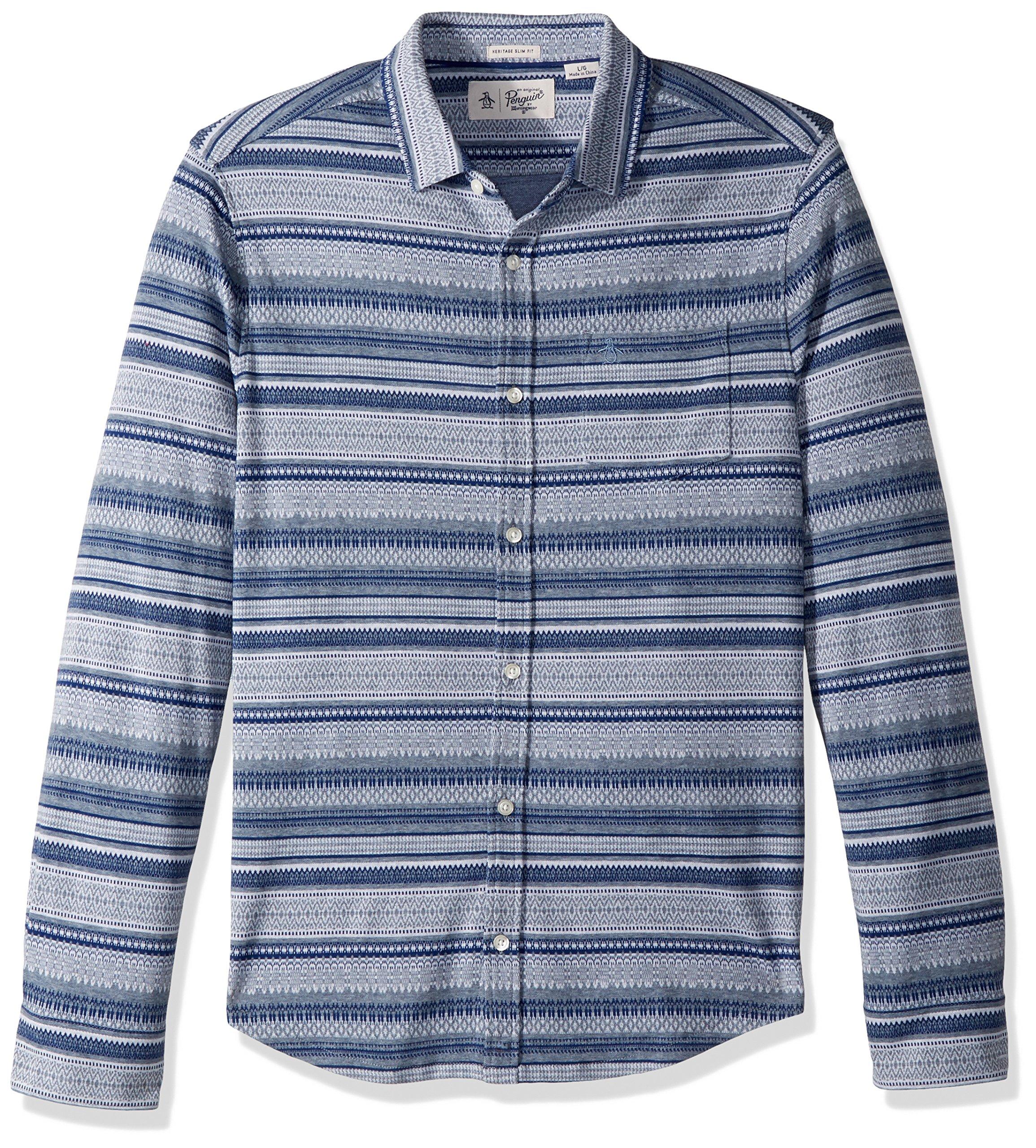 Original Penguin Men's Long Sleeve Knitted Fairisle Shirt, China Blue, Large