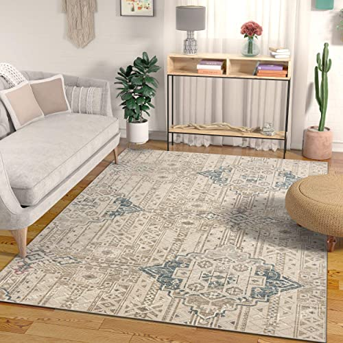 Well Woven Campo Magnolia Vintage Global Abstract Geometric Beige 8 9 x 12 5 Distressed Area Rug