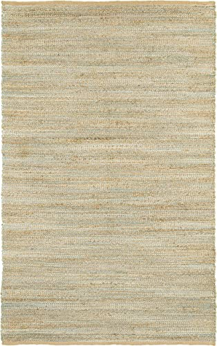 LR Resources Natural Fiber LR03337-SPA90C0 Spa Blue Rectangle 9 X 12 ft Plush Indoor Area Rug