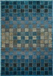 Rizzy Home Bellevue Collection Polypropylene Area Rug, Blue/Tan Check