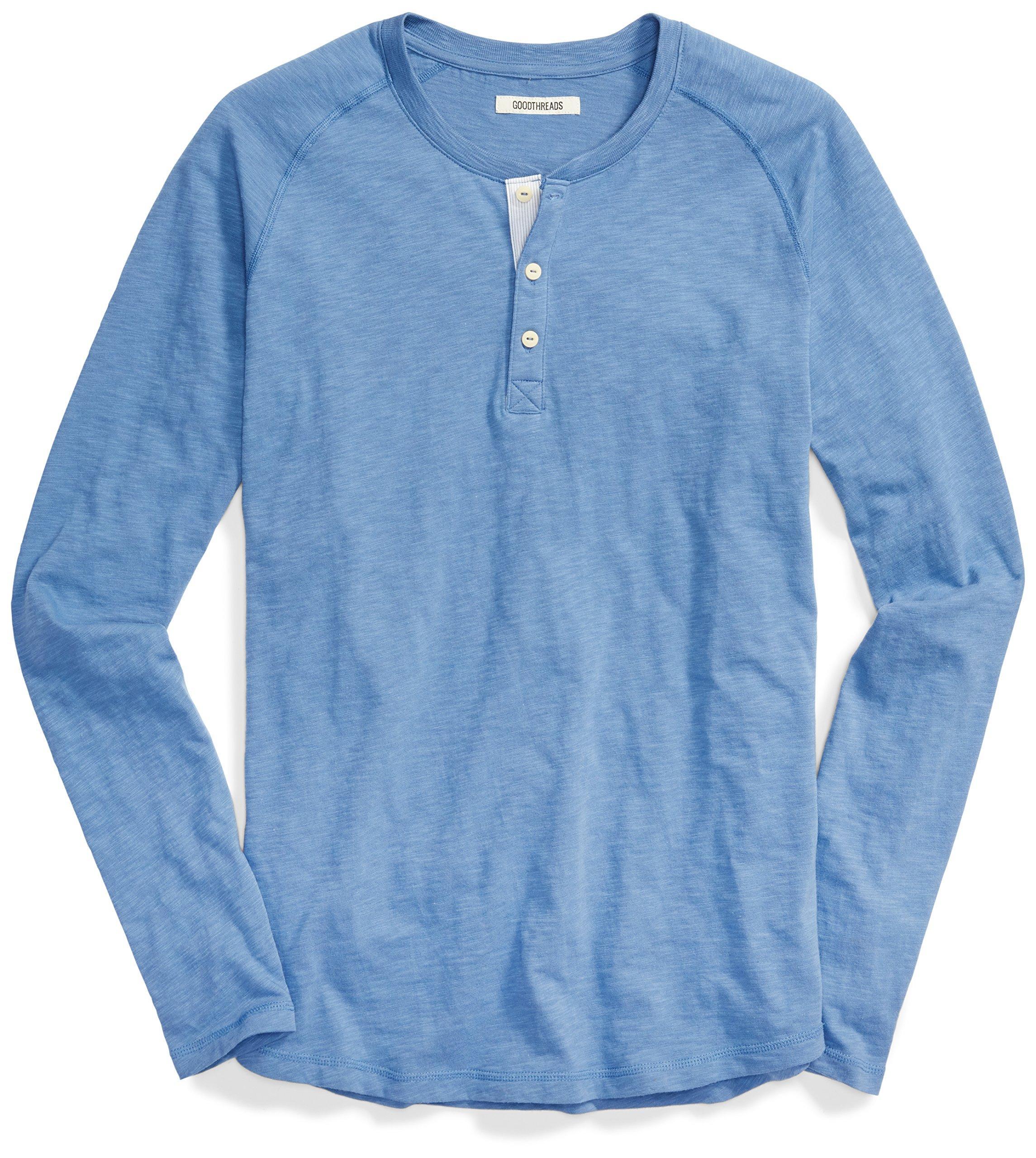 a41f9d5a67c2 Goodthreads Men's Long-Sleeve Lightweight Slub Henley, Moonlight Blue/Blue,  Medium