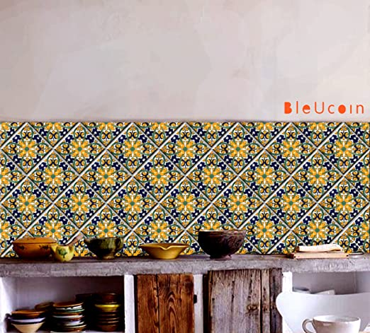 Amazon Com Yellow Mexican Tile Stickers For Kitchen And Bathroom